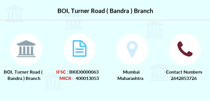 Bank-of-india Turner-road-bandra branch