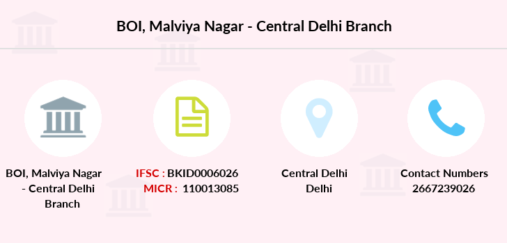 bank of india malviya nagar new delhi address