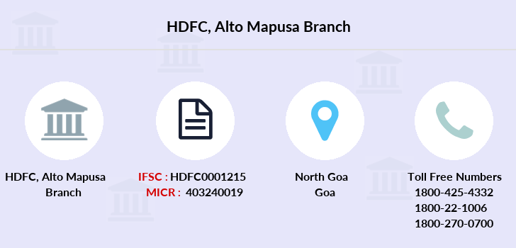 Hdfc-bank Alto-mapusa branch