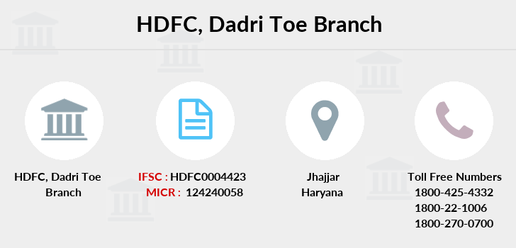 Hdfc-bank Dadri-toe branch
