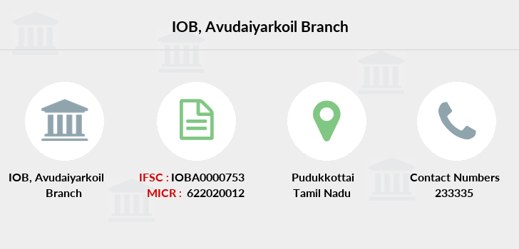 Indian-overseas-bank Avudaiyarkoil branch