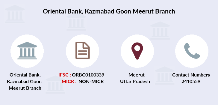 Oriental-bank-of-commerce Kazmabad-goon-meerut branch