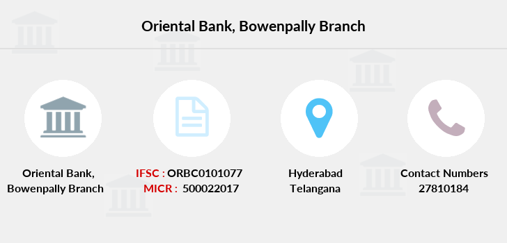 Oriental-bank-of-commerce Bowenpally branch