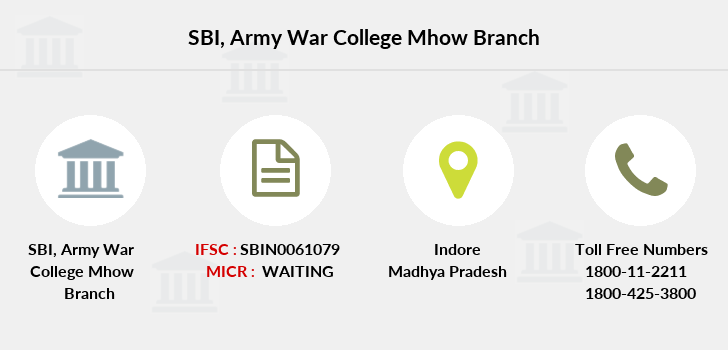 SBI Army War College Mhow IFSC Code SBIN0061079
