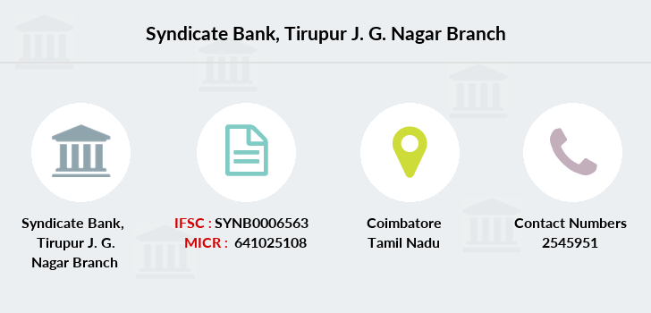 Syndicate Bank Tirupur J  G  Nagar IFSC Code SYNB0006563