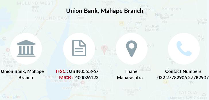 Union Bank Mahape IFSC Code UBIN0555967