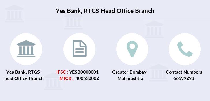 Yes Bank RTGS Head Office IFSC Code YESB0000001