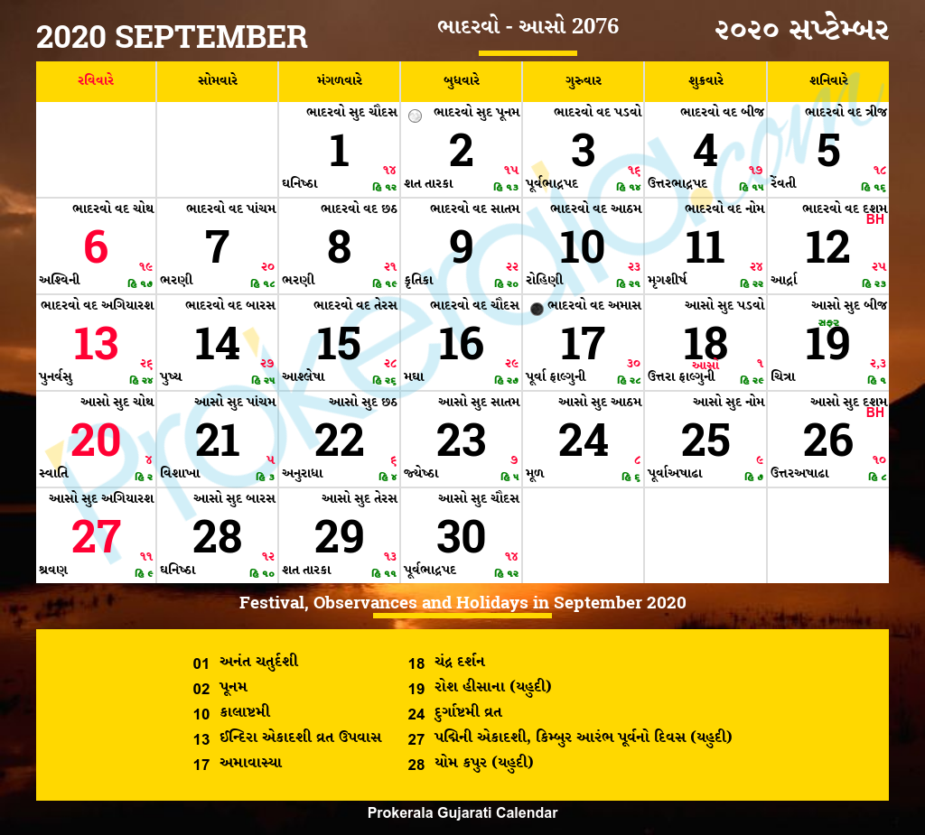 Gujarati Calendar 2021 September Gujarati Calendar September, 2020 | Vikram Samvat 2076, Bhadarvo