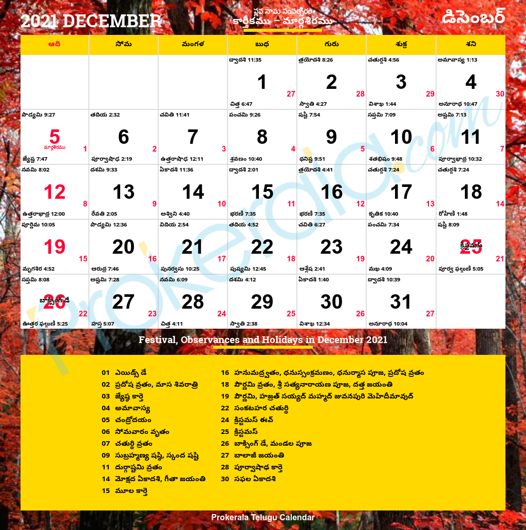 Download Telugu Calendar December, 2021