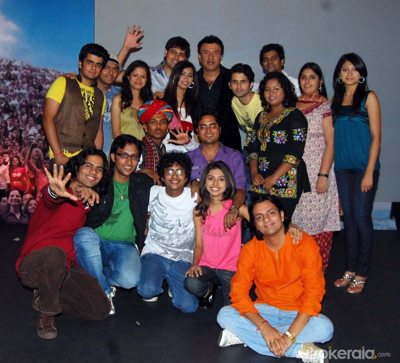 Anu Malik With 17 Indian Idol finalists at the Press meet of Indian Idol finalists held at Hotel-ITC Maratha, Andheri on 6.May 2010