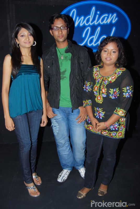 Bhumi Trivedi,Sashi Suman and Arpita Khan at the Press meet of Indian Idol finalists held at Hotel-ITC Maratha, Andheri on 6.May 2010