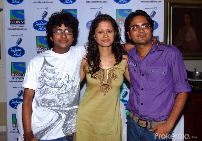 Shivam Pathak,Kanika Joshi and Rakesh Maini at the Press meet of Indian Idol finalists held at Hotel-ITC Maratha, Andheri on 6.May 2010