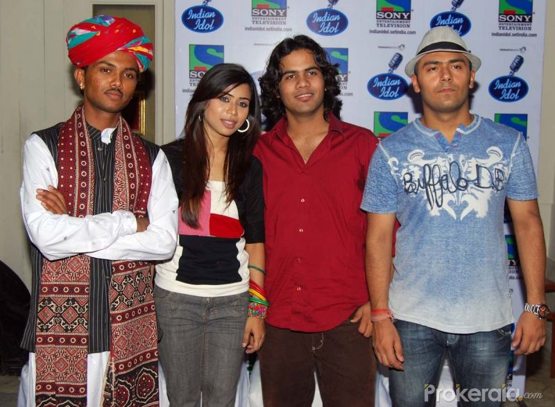 Swaroop Khan,Manisha Karmakar,Naushad Ali Kawa and Lakshay at the Press meet of Indian Idol finalists held at Hotel-ITC Maratha, Andheri on 6.May 2010