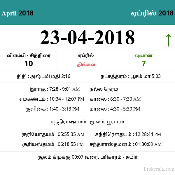 Daily Tamil Calendar April 23, 2018