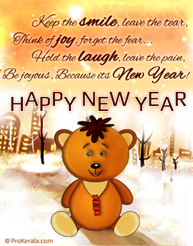 new year teddy cute new year greeting card with message