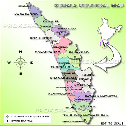 A Kerala Map detailing about the political features including Kerala
