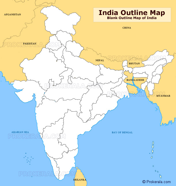 India Outline Map, Blank Outline Map of India