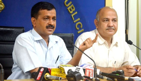 Delhi Chief Minister Arvind Kejriwal along with Deputy Chief Minister Manish Sisodia during a press conference in New Delhi on Aug 18, 2017.