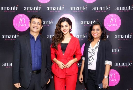 (LtoR)Mr. Vivek Mehtam CEO, MAS Brands with Taapsee Pannu and Ms Smita Murarka, Head - Marketing, MAS Brands India at amante's 10th store launch at Ambience Mall, Gurugram.