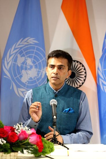 New York: Official Spokesperson of Ministry of External Affairs Raveesh Kumar addresses during 72nd Session of the United Nations General Assembly (UNGA) in New York on Sept 17, 2017.