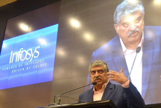 Newly appointed Non Executive Chairman of Infosys Nandan Nilekani addresses a press conference of Infosys, in Bengaluru on Aug 25, 2017.