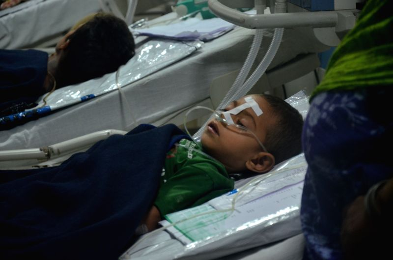 A child admitted at the Baba Raghav Das Medical College (BRDMC) hospital in Gorakhpur on Aug 12, 2017. 60 children died in the past five days at BRDMC hospital.