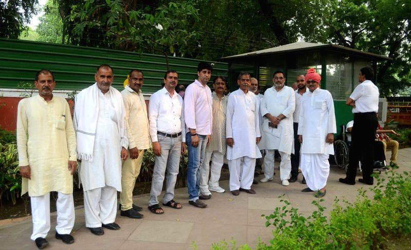 A delegation of farmers arrive to meet Union Home Minister Rajnath Singh at his residence, in New Delhi on July 12, 2018.