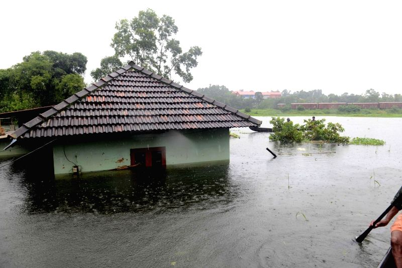 A view of flood hit Kottayam district of Kerala, on July 20, 2018.(Image Source: IANS)