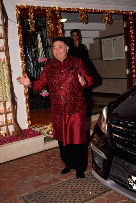 Actor Rishi Kapoor during a Diwali party hosted by actress Shilpa Shetty in Mumbai, on Oct 20, 2017.