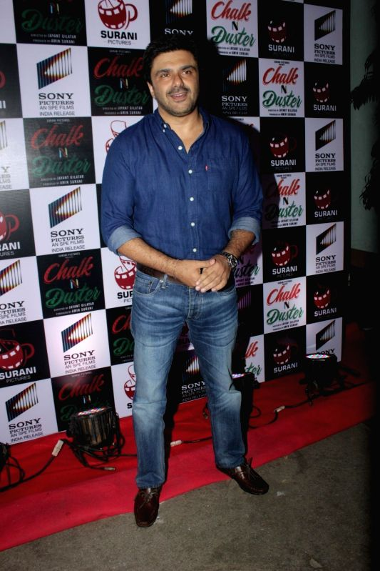 Actor Samir Soni during the first look and trailer of the film Chalk N Duster, in Mumbai on Dec. 2, 2015.