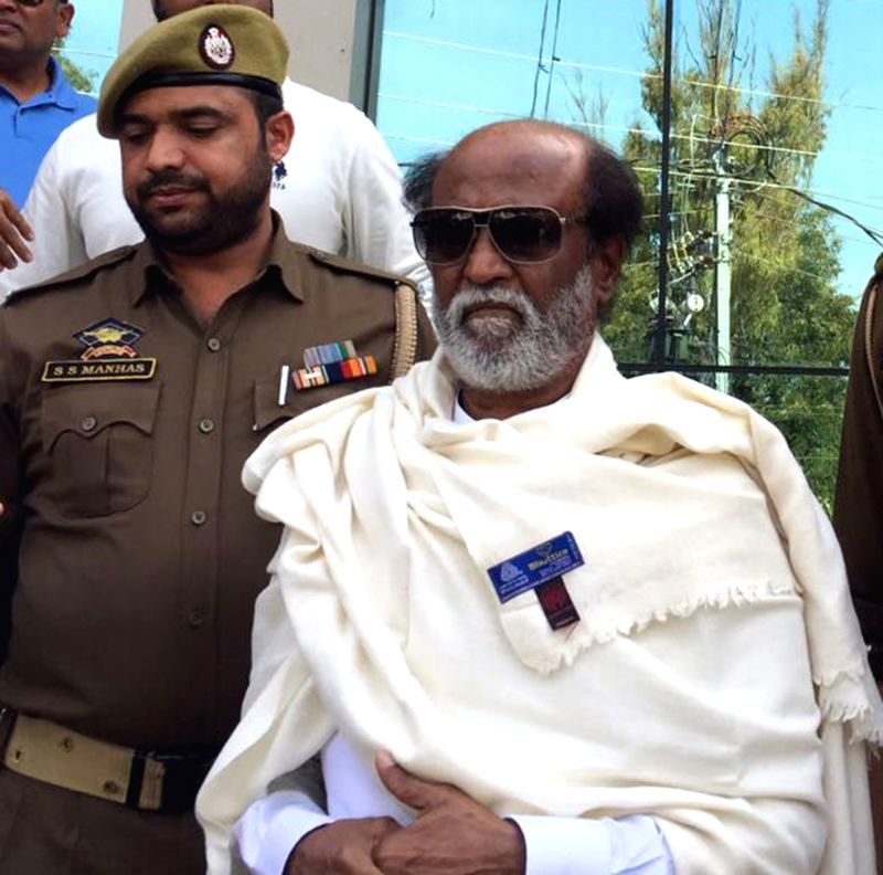 Actor turned politician Rajinikanth visits Shivkhori in Reasi district of Jammu and Kashmir on March 11, 2018.