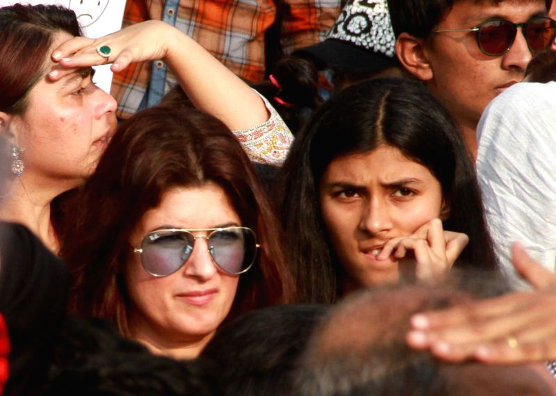 Actor-writer-producer Twinkle Khanna during peaceful protest against the barbaric rape and murder of an eight-year-old girl in Kathua in Jammu and Kashmir, and sexual assault of another young ...(Photo:IANS)