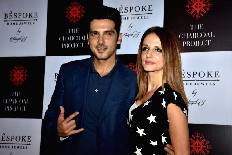 Actor Zayed Khan along with his sister Sussanne Khan at a store launch in Mumbai on April 13, 2018 .(Image Source: IANS)