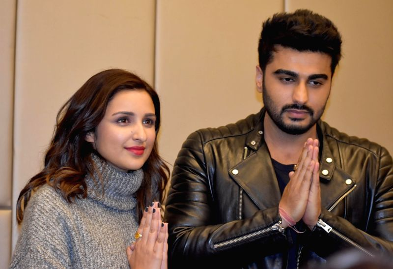 Actors Parineeti Chopra and Arjun Kapoor during a press conference before shooting of