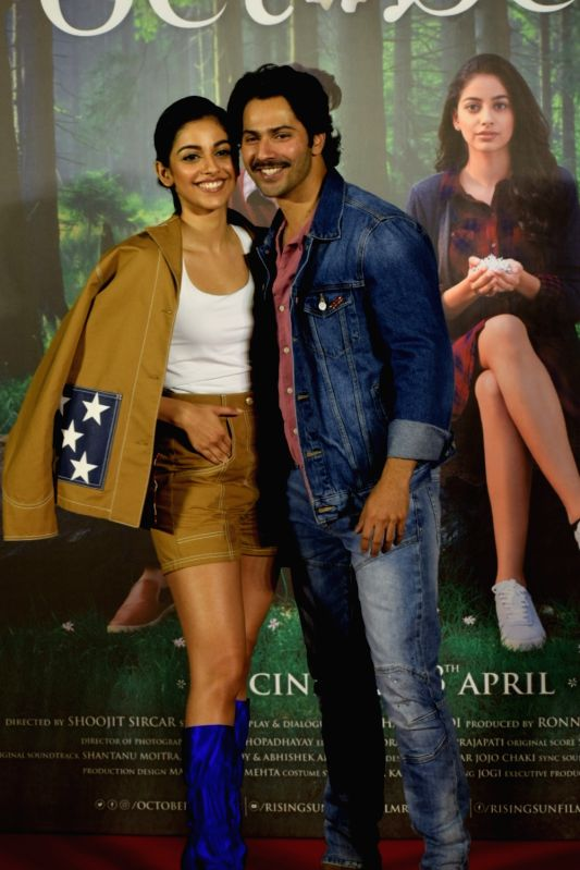 Actors Varun Dhawan and Banita Sandhu at the trailer launch of their upcoming film