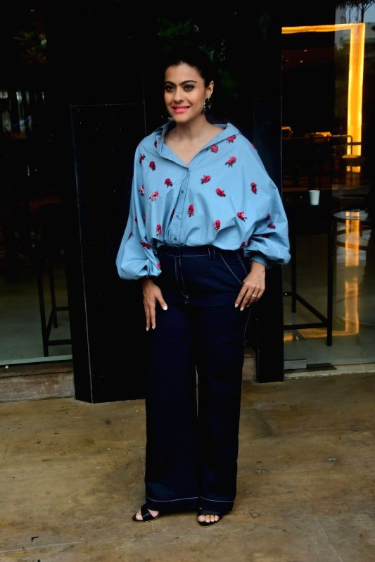 "Actress Kajol Devgn at the promotion of her upcoming film ""Helicopter Eela"" in Mumbai on Aug 16, 2018.(Image Source: IANS)"