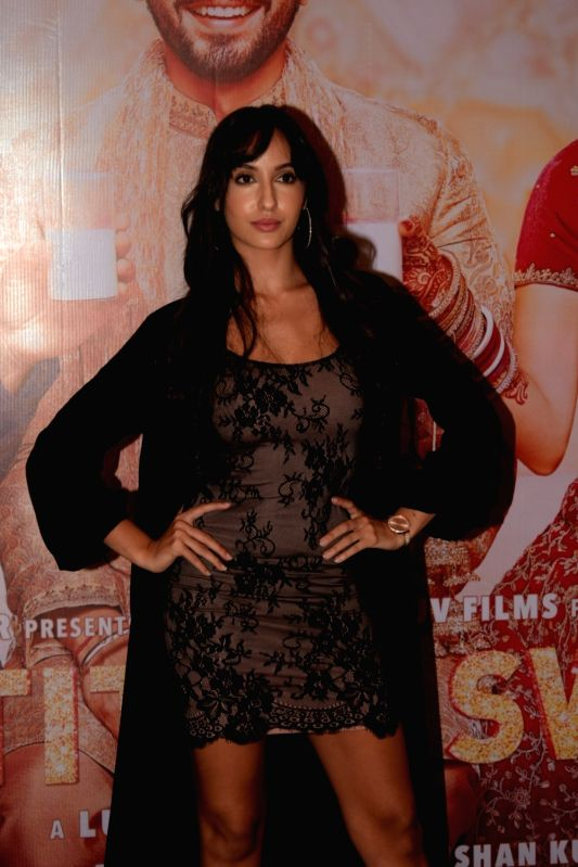 "Actress Nora Fatehi at the success party of film ""Sonu Ke Titu Ki Sweety"" in Mumbai on March 12, 2018.(Image Source: IANS)"