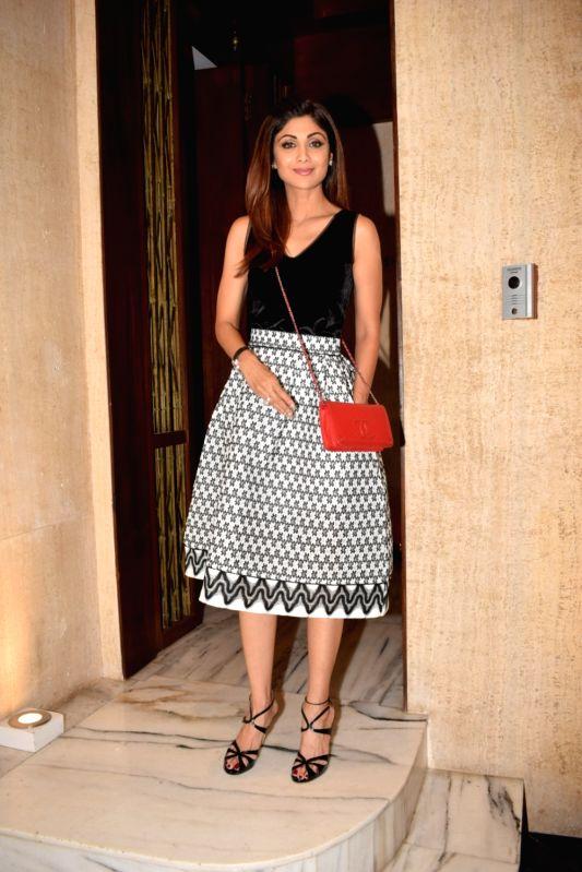 Actress Shilpa Shetty Kundra  attends fashion designer Manish Malhotra party in Mumbai on Nov 2,2017.