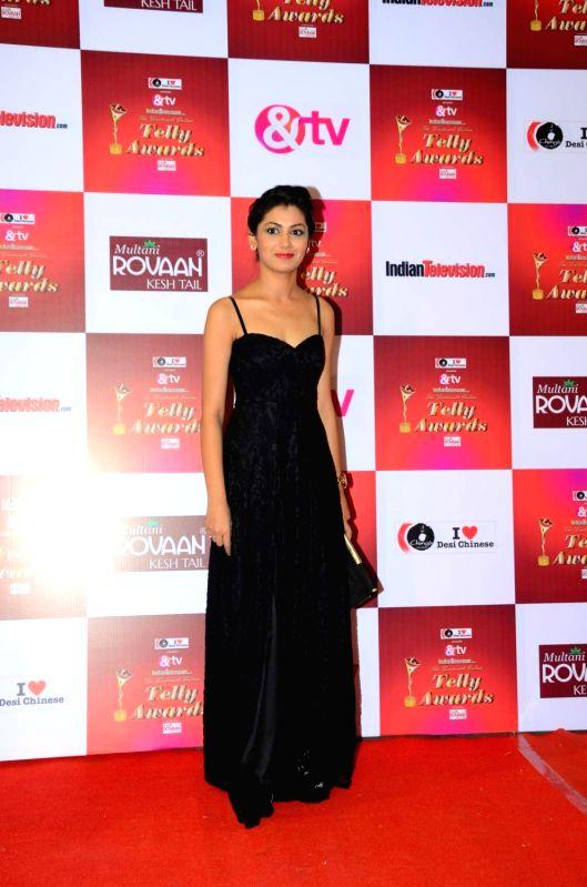 Actress Sriti Jha during the 14th Indian Telly Awards in Mumbai, on Nov 28, 2015.