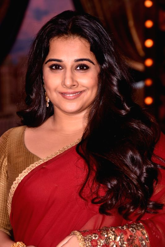 Actress Vidya Balan on the sets of live game show