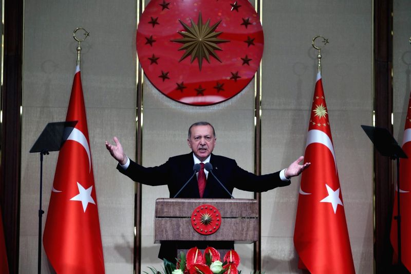 ANKARA, July 16, 2018 - Turkish President Recep Tayyip Erdogan makes a speech during a commemoration event marking the second anniversary of the defeated failed coup in 2016 in Ankara, Turkey, July ...(Photo:Xinhua/IANS)