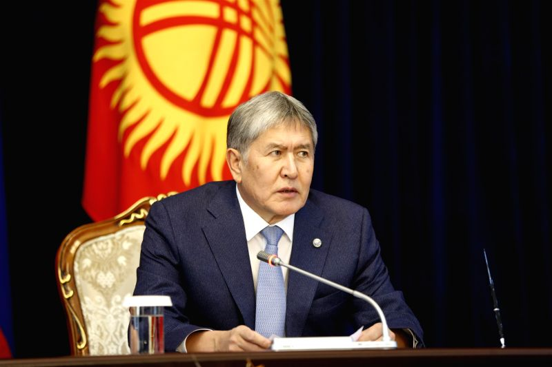 BISHKEK, Feb. 28, 2017 - Kyrgyz President Almazbek Atambayev addresses a news conference after meeting with his Russian counterpart Vladimir Putin (not in the picture) in Bishkek, capital of ...