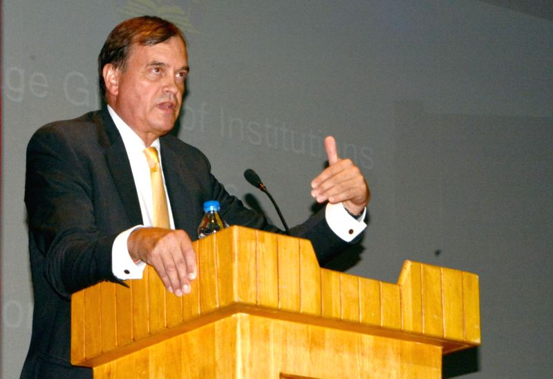 British High Commissioner to India Dominic Asquith addresses students at Heritage Institute of Management and Communication in Kolkata on Aug 24, 2017.