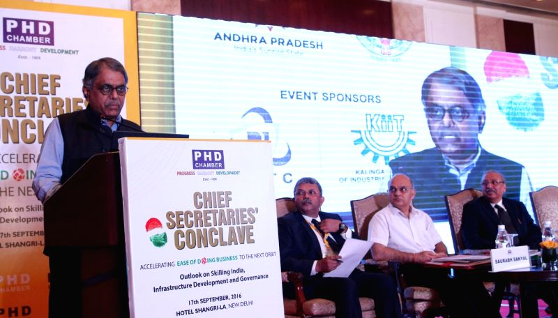 "Cabinet Secretary PK Sinha addresses during ""Chief Secretaries Conclave"" organised by PHD chambers in New Delhi on Sept 17, 2016.(Image Source: IANS)"