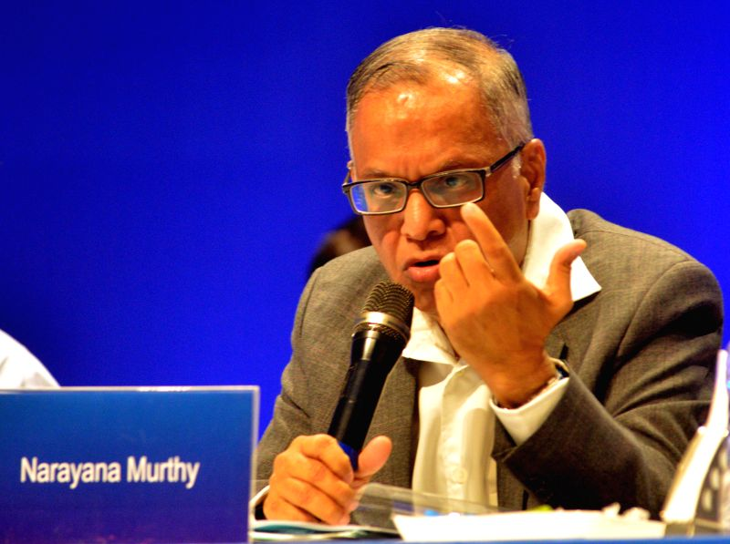 : Chairman of Infosys NR Narayana Murthy addressing his last speech in the 33rd Annual general meeting of Infosys, at Christ University in Bangalore on June 14, 2014. (Photo: IANS).
