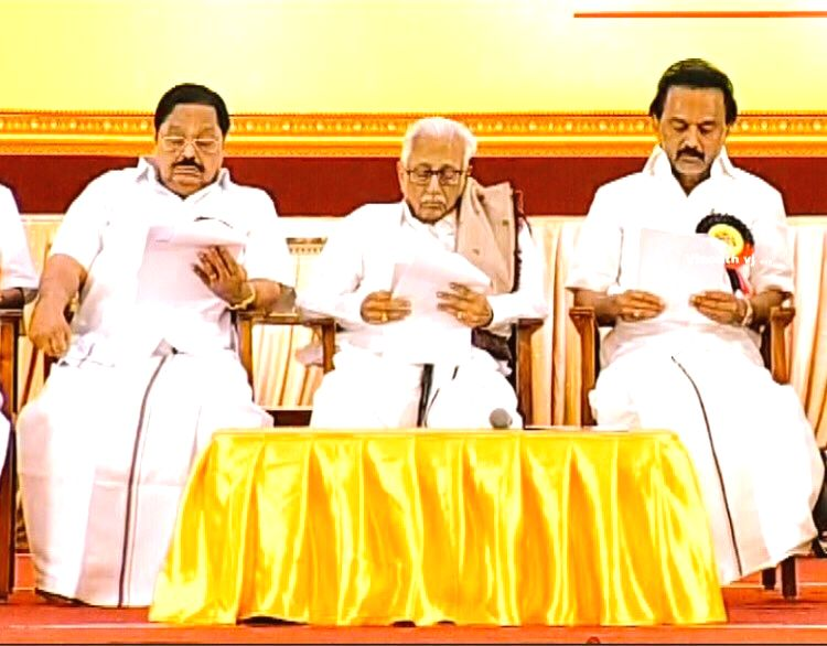 : Chennai: Former Union Minister MK Alagiri, Dravida Munnetra Kazhagam (DMK) working President M.K. Stalin at the party's 1st Executive Committee Meeting after M. Karunanidhi's death, in ...(Image Source: IANS)