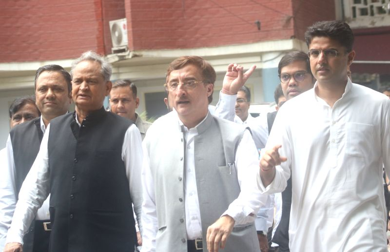 Congress delegation led by party leaders Ashok Gehlot, Vivek Tankha and Sachin Pilot, comes out of the Election Commission of India after meeting Chief Election Commissioner Om Prakash ...(Image Source: IANS)
