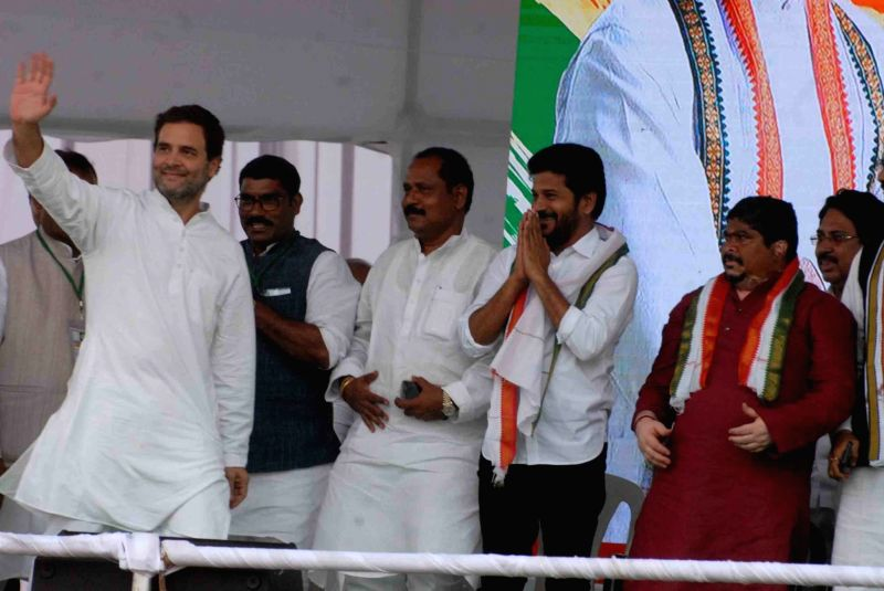 Congress President Rahul Gandhi during a public meeting at Saroornagar Indoor Arena, in Hyderabad on Aug 14, 2018.(Image Source: IANS)