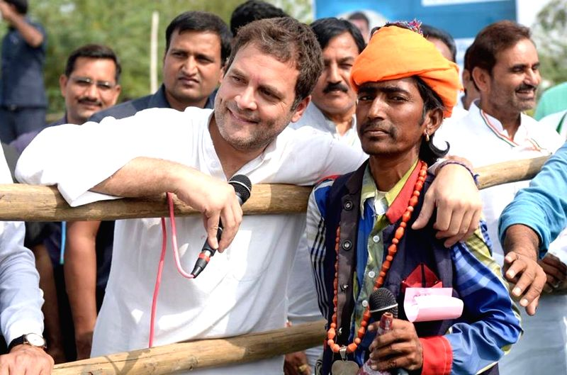 Congress Vice President Rahul Gandhi interacts with people in Patan of Gujarat on Nov 13, 2017.