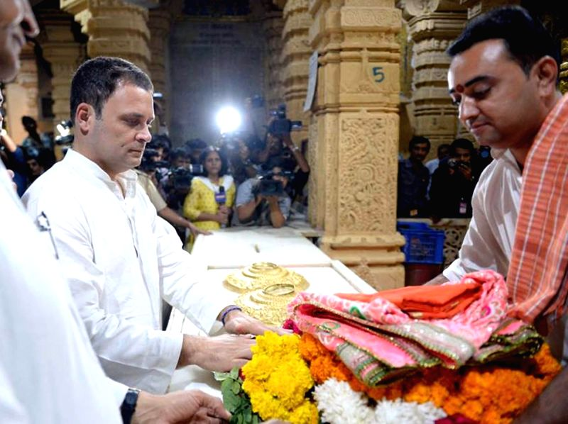 Congress Vice President Rahul Gandhi pays obeisance at Somnath Temple in Somnath, Gujarat on Nov 29, 2017.